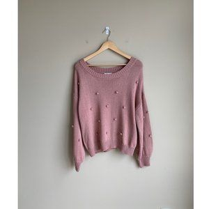 NEW Moon River Bubble Knit Sweater in Salmon Pink